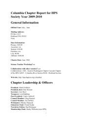 Columbia Chapter Report for HPS Society Year 2009-2010