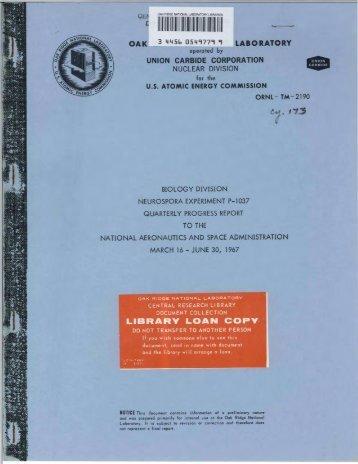 atomic energy commission - Oak Ridge National Laboratory