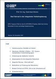 Das Fahrrad in der integrierten Verkehrsplanung Prof. Dr.-Ing. Gerd ...