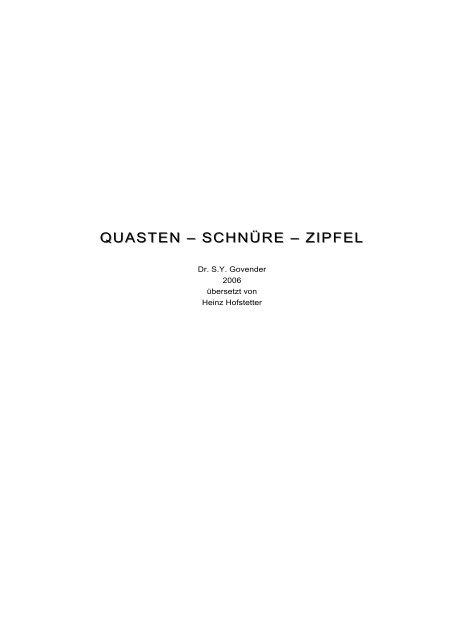 quasten schnüre fransen zipfel.heinz.dd.doc - Heinz Hofstetter ...