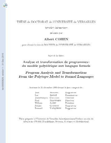 [tel-00550829, v1] Analyse et transformation de programmes: du ...