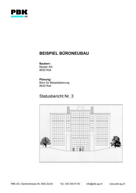 Beispiel Büroneubau Statusbericht Nr 3 Pbk Ag