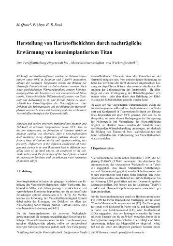 Herstellung von Hartstoffschichten durch nachträgliche Erwärmung ...