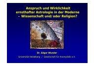 Anspruch und Wirklichkeit ernsthafter Astrologie in der ... - Religio