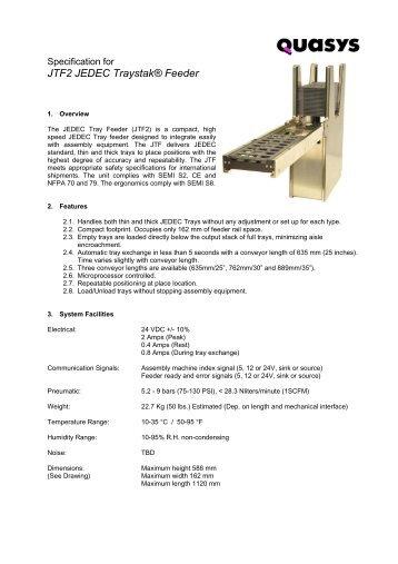 JTF2 JEDEC Traystak® Feeder - Quasys