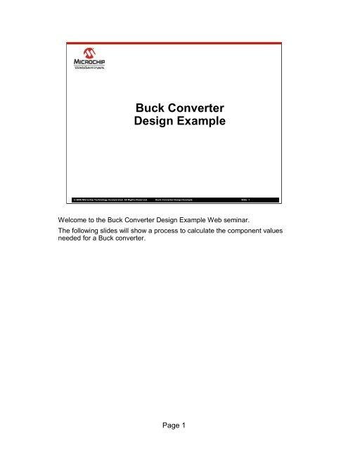 Buck Converter Design Example