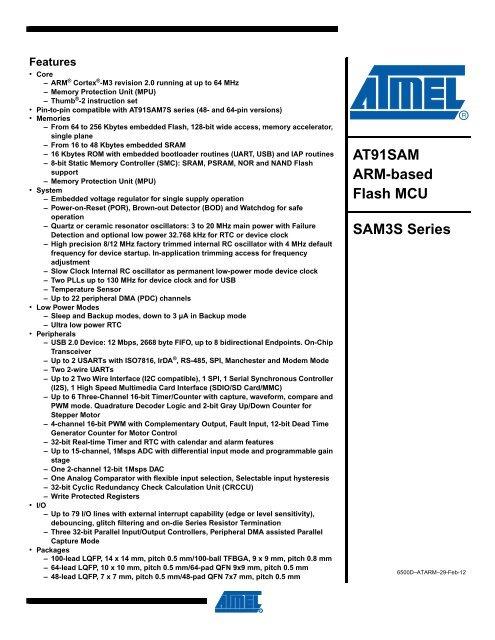AT91SAM ARM-based Flash MCU SAM3S Series - Atmel