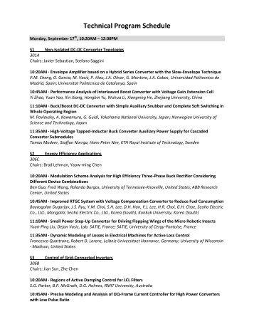 Technical Program Schedule - IEEE ECCE 2012, Raleigh, North ...