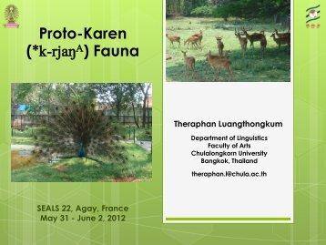 Proto-Karen (*k-rjaŋA) Fauna