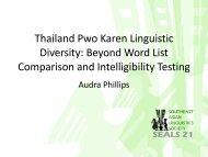 Thailand Pwo Karen Linguistic Diversity: Beyond Word List