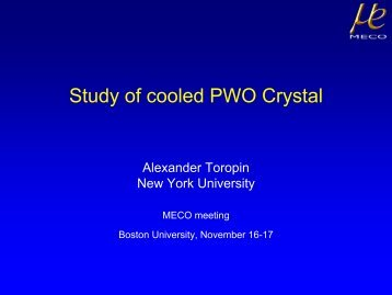Study of cooled PWO Crystal - meco