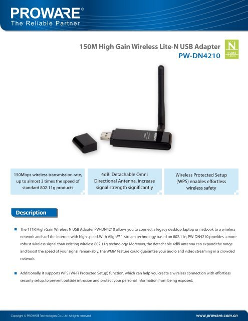 High-gain 150mbps pw-dn4210d drivers