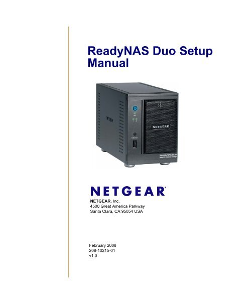 ReadyNAS Duo Setup Manual - NETGEAR ReadyNAS Community