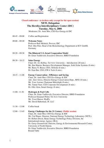 NETL Delegation The Herzliya Interdisciplinary Center (IDC ...
