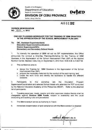 Memo No. 402, S. 2012 - DepEd Cebu Province