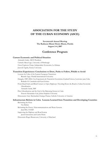 Conference Program - Association for the Study of the Cuban ...