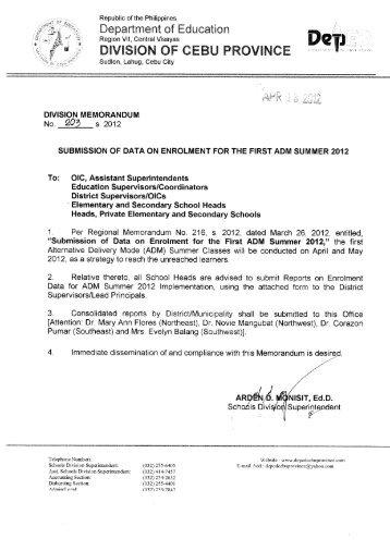Memo No. 203, S. 2012 - DepEd Cebu Province