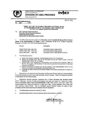 Memo No. 499, S. 2012 - DepEd Cebu Province