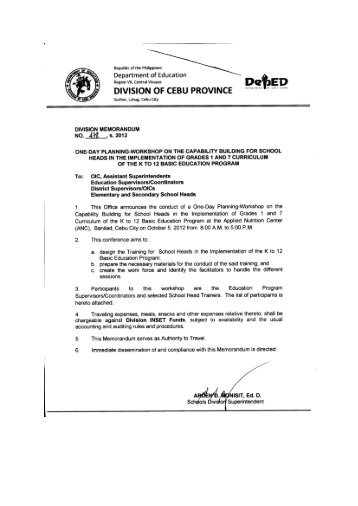 cebu province division essay Deped cebu province 2016 ranking of teacher i applicants by mark department of education region vii, central visayas division of cebu province ipho bldg, sudlon 2016 division memorandum no 014, s2016 submission of pertinent papers for teacher 1 position for sy 2016-2017 to: all.