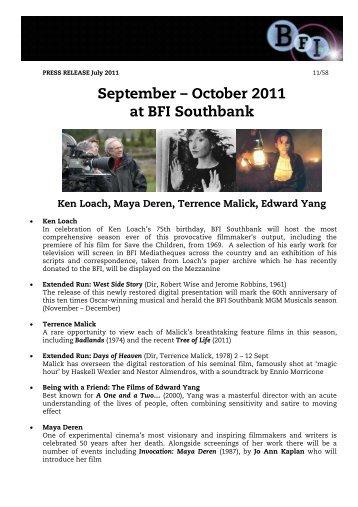 September – October 2011 at BFI Southbank - British Film Institute