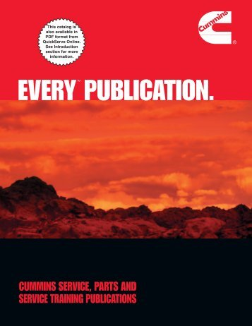 cummins service, parts and service training publications