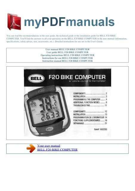 Bell f20 bike computer instruction manual