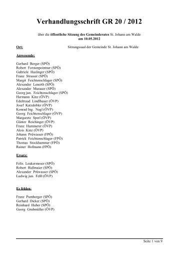 GR-Sitzung 20/2012 (58 KB) - .PDF - St. Johann am Walde