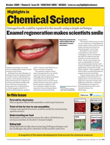 Highlights In Chemical Science - Royal Society of Chemistry