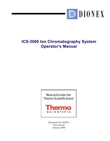 ICS-3000 Ion Chromatography System Operator's Manual - Dionex