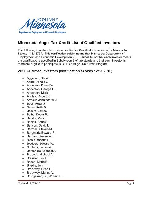 Minnesota Angel Tax Credit List of Qualified Investors