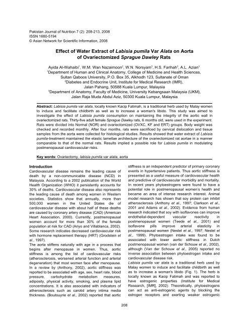 Effect Of Labisia Pumila Var Alata Consumption On Pakistan Journal
