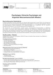 Psychologie: Klinische Psychologie und Kognitive ... - LMU