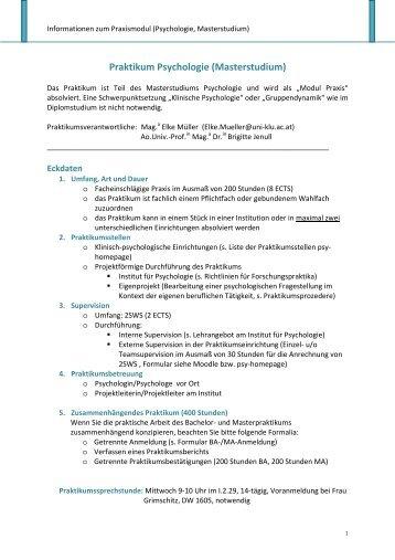 Praktikum Psychologie (Masterstudium)