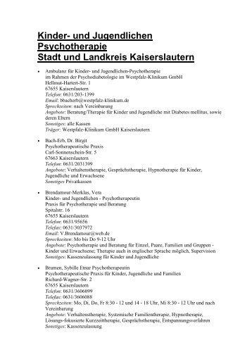 Kinder- und Jugendlichen-Psychotherapie - Landkreis Kaiserslautern