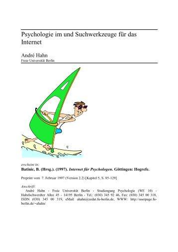 "Bernad Batinic (Hrsg.), ""Internet für Psychologen"". - André Hahn"