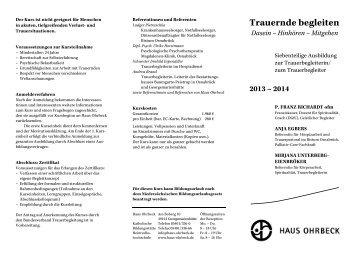 Ausbildung zur Trauerbegleiterin/zum ... - Haus Ohrbeck
