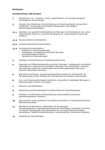 Ausbildung Psychologischer Psychotherapeut-Studienplan