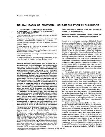 neural basis of emotional self-regulation in childhood - Institut ...