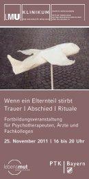 Wenn ein Elternteil stirbt Trauer   Abschied   Rituale - PTK Bayern