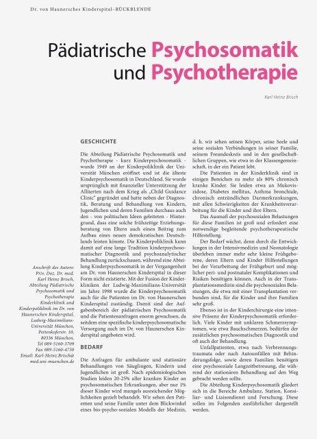 und Psychotherapie - Hauner Journal