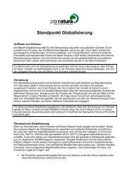 Standpunkt Globalisierung - Pro Natura