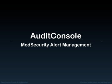 ModSecurity Alert Management - OpenSource Training