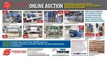 online auction machinery & equipment from a - Prestige Equipment