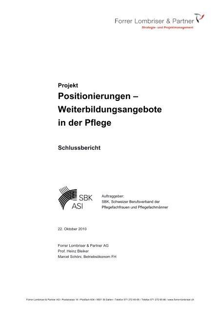 Schlussbericht - Schweizer Berufsverband der Pflegefachfrauen