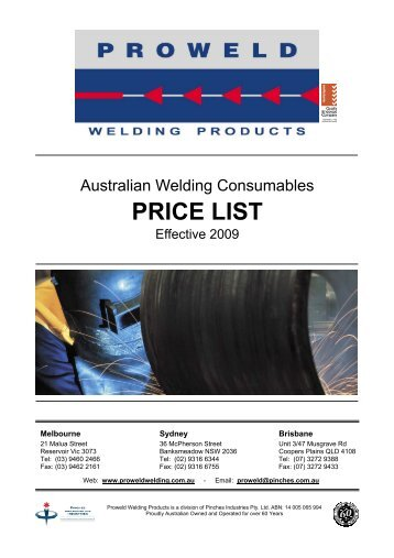 PROWELD A PRICE LIST 2009 - Proweld Welding Products