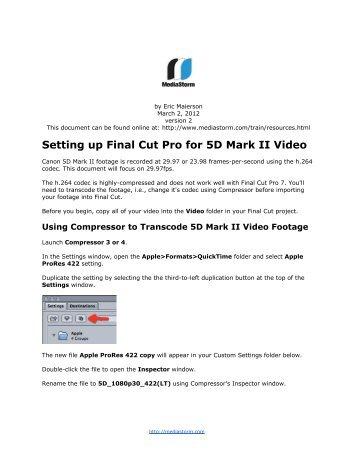 how to set up folders for final cut pro mac