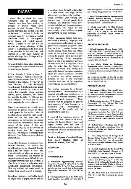 Digest Federation Of Family History Societies