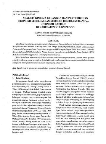 Jurnal keuangan dan perbankan perbanas