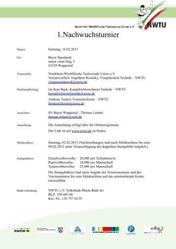 1.Nachwuchsturnier - NWTU - Nordrhein Westfälische Taekwondo ...