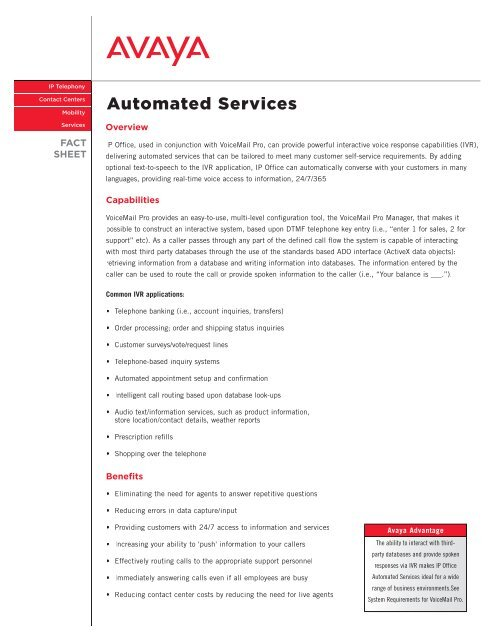 Avaya IP Office Voicemail Pro-Automated Services     - Overline